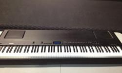 Yamaha Electric Piano P-200   AWM(Advanced Wave Memory) tone generation, with stereo sampling - 64-note polyphony - 88-key Graded Hammer Effect Keyboard - Digital EQ, reverb, and modulation effects - Single, Dual, and Split voice modes - One-touch
